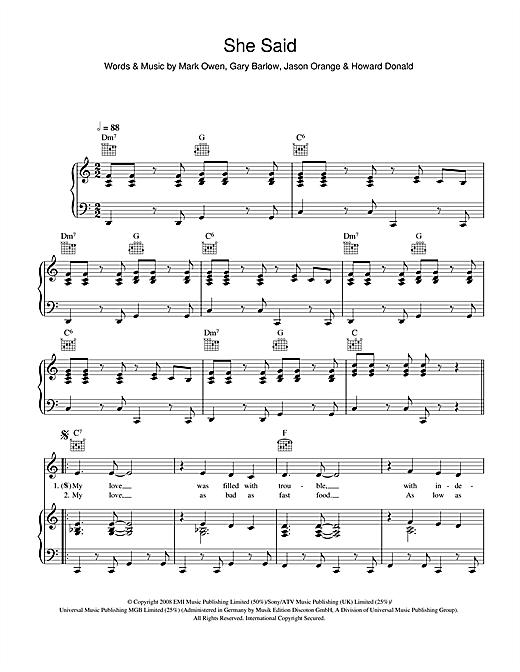 Take That She Said sheet music notes and chords. Download Printable PDF.