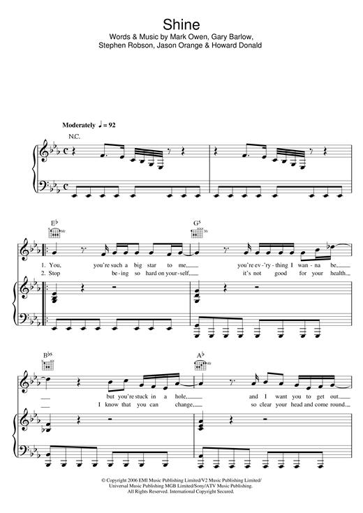 Take That Shine sheet music notes and chords. Download Printable PDF.