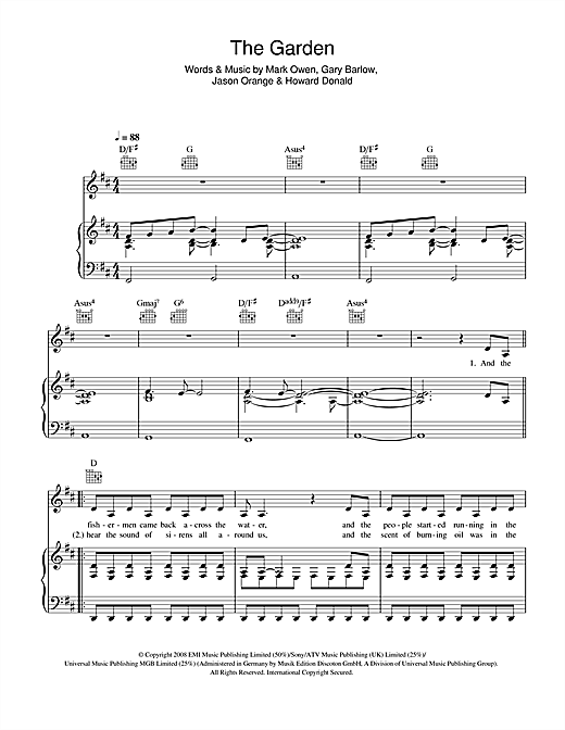 Take That The Garden sheet music notes and chords. Download Printable PDF.