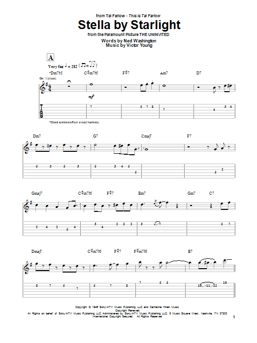 Tal Farlow Stella By Starlight sheet music notes and chords. Download Printable PDF.