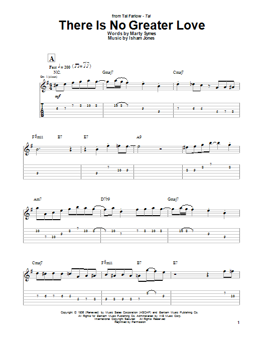 Tal Farlow There Is No Greater Love sheet music notes and chords. Download Printable PDF.