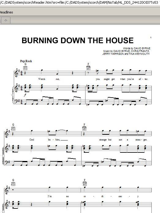 Talking Heads Burning Down The House sheet music notes and chords