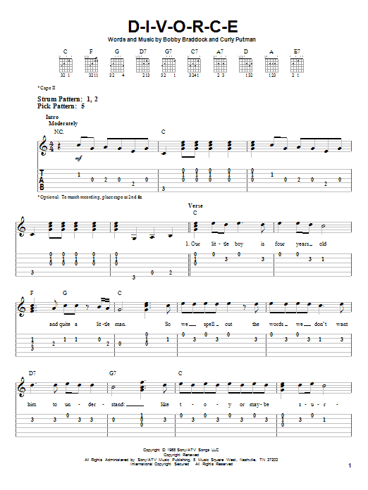 Tammy Wynette D-I-V-O-R-C-E sheet music notes and chords. Download Printable PDF.