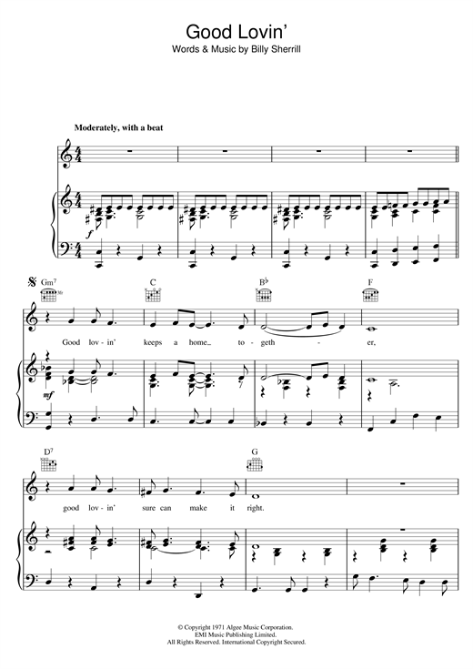 Tammy Wynette Good Lovin' (Makes It Right) sheet music notes and chords. Download Printable PDF.