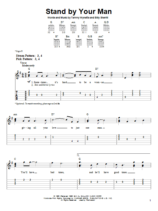 Tammy Wynette Stand By Your Man sheet music notes and chords. Download Printable PDF.