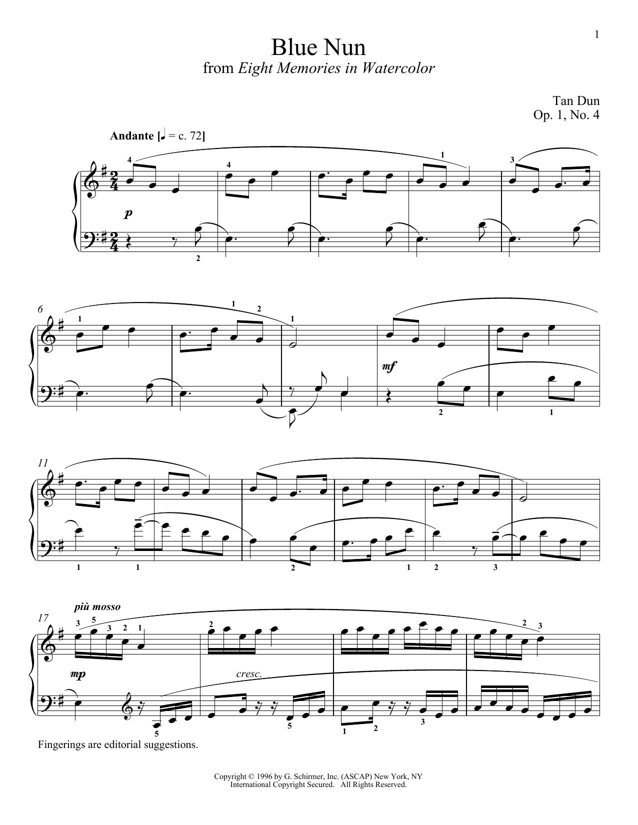 Tan Dun Blue Nun sheet music notes and chords
