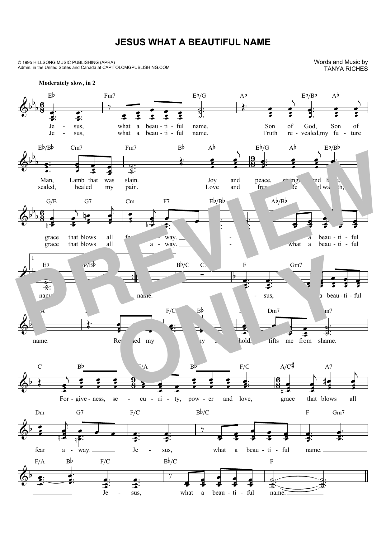 Tanya Riches 'Jesus What A Beautiful Name' Sheet Music Notes, Chords |  Download Printable Lead Sheet / Fake Book - SKU: 179561