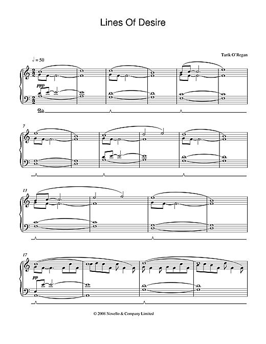 Tarik O'Regan Lines Of Desire sheet music notes and chords. Download Printable PDF.