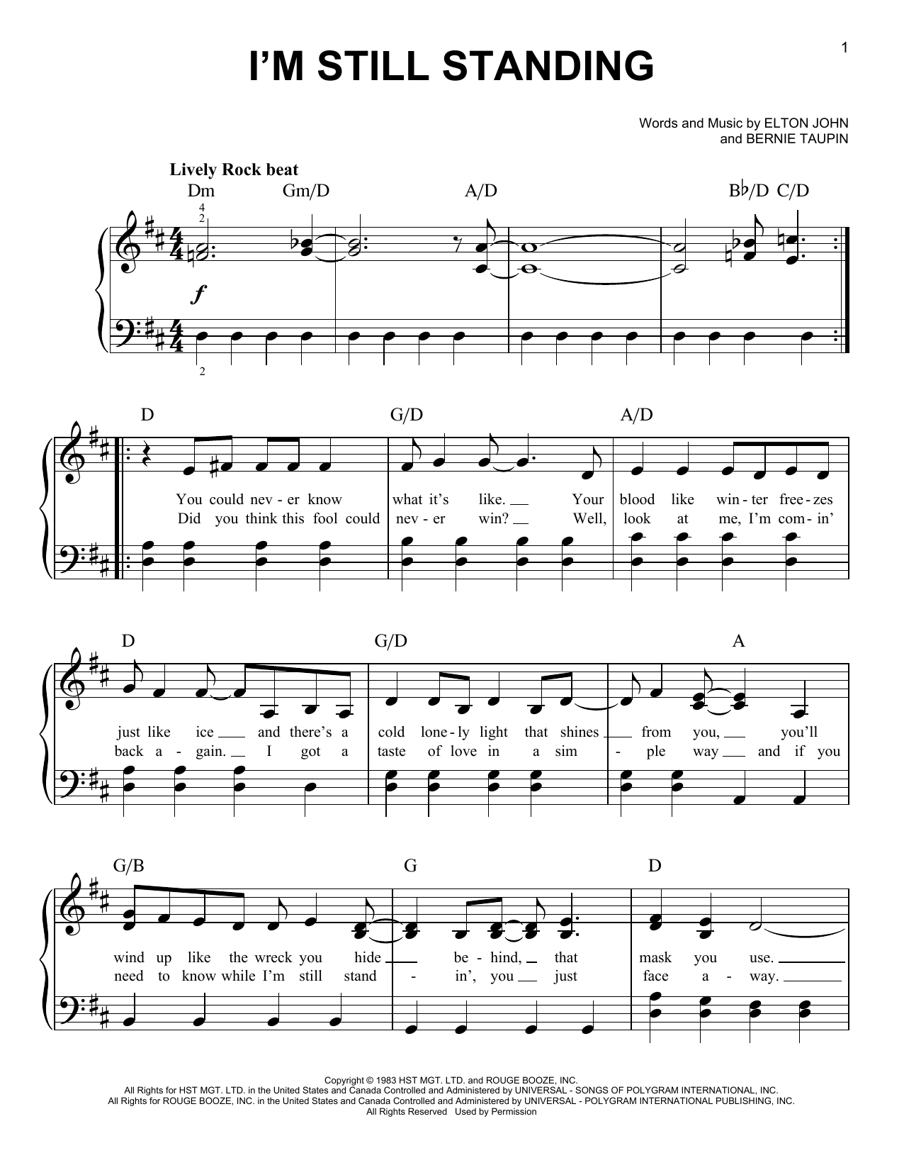 Taron Egerton I'm Still Standing (from Rocketman) sheet music notes and chords