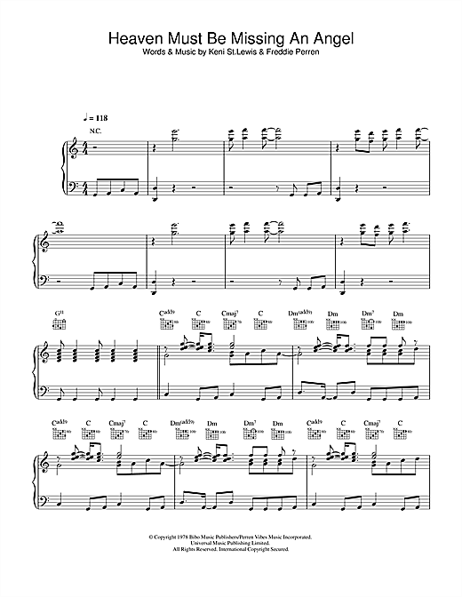 Tavares Heaven Must Be Missing An Angel sheet music notes and chords. Download Printable PDF.