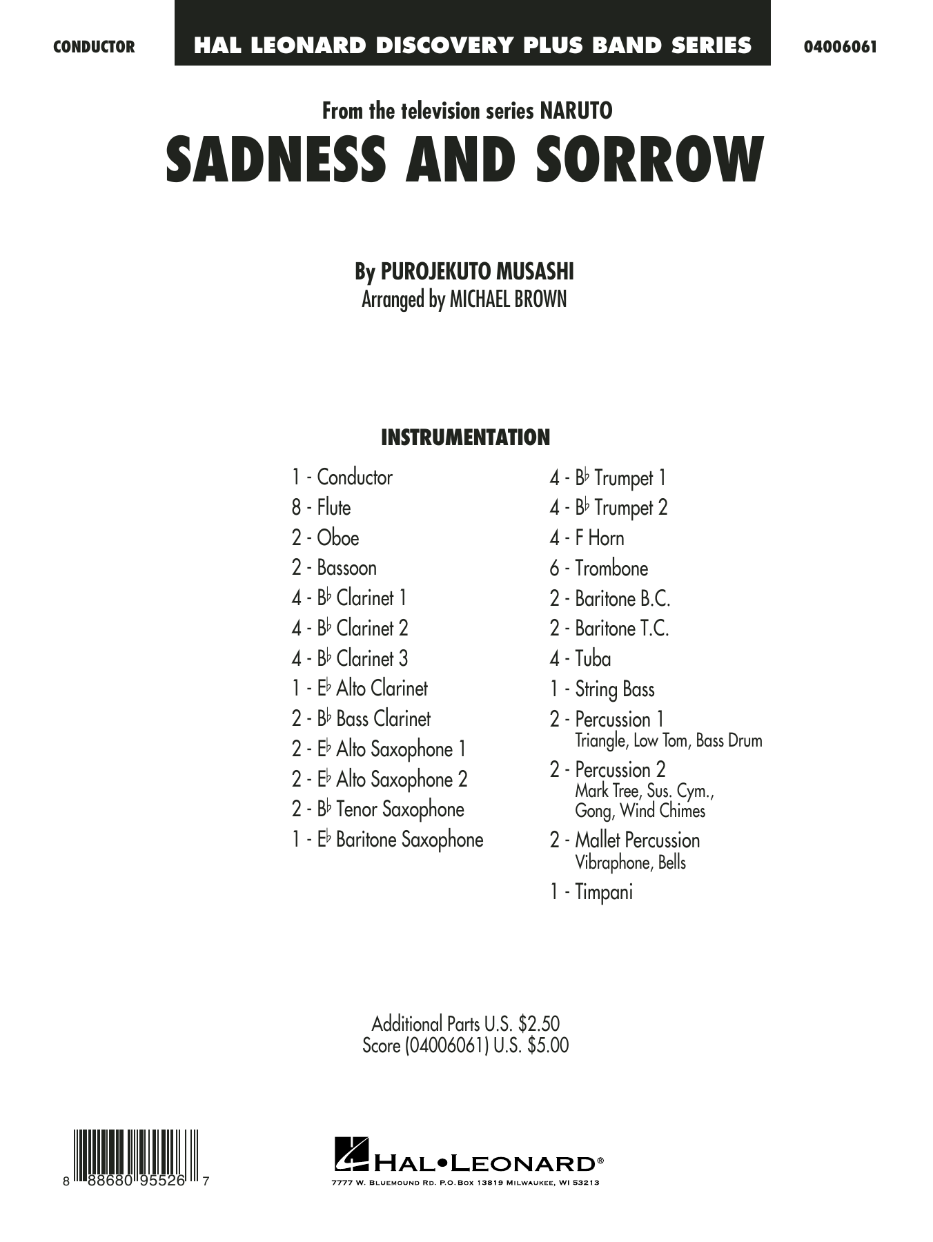 Taylor Davis Sadness and Sorrow (from Naruto) (arr. Michael Brown) - Conductor Score (Full Score) sheet music notes and chords. Download Printable PDF.