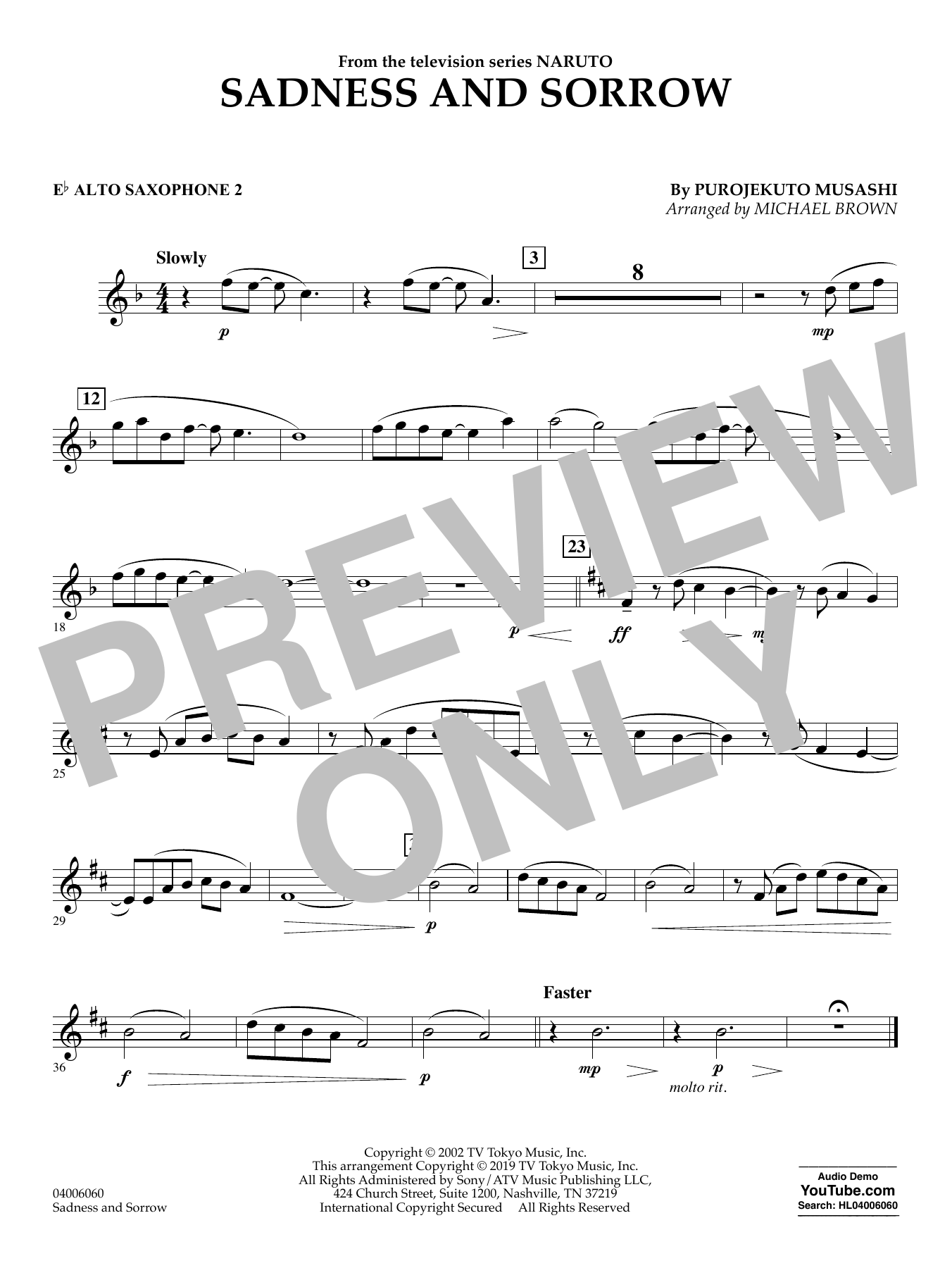 Taylor Davis Sadness and Sorrow (from Naruto) (arr. Michael Brown) - Eb Alto Saxophone 2 sheet music notes and chords. Download Printable PDF.