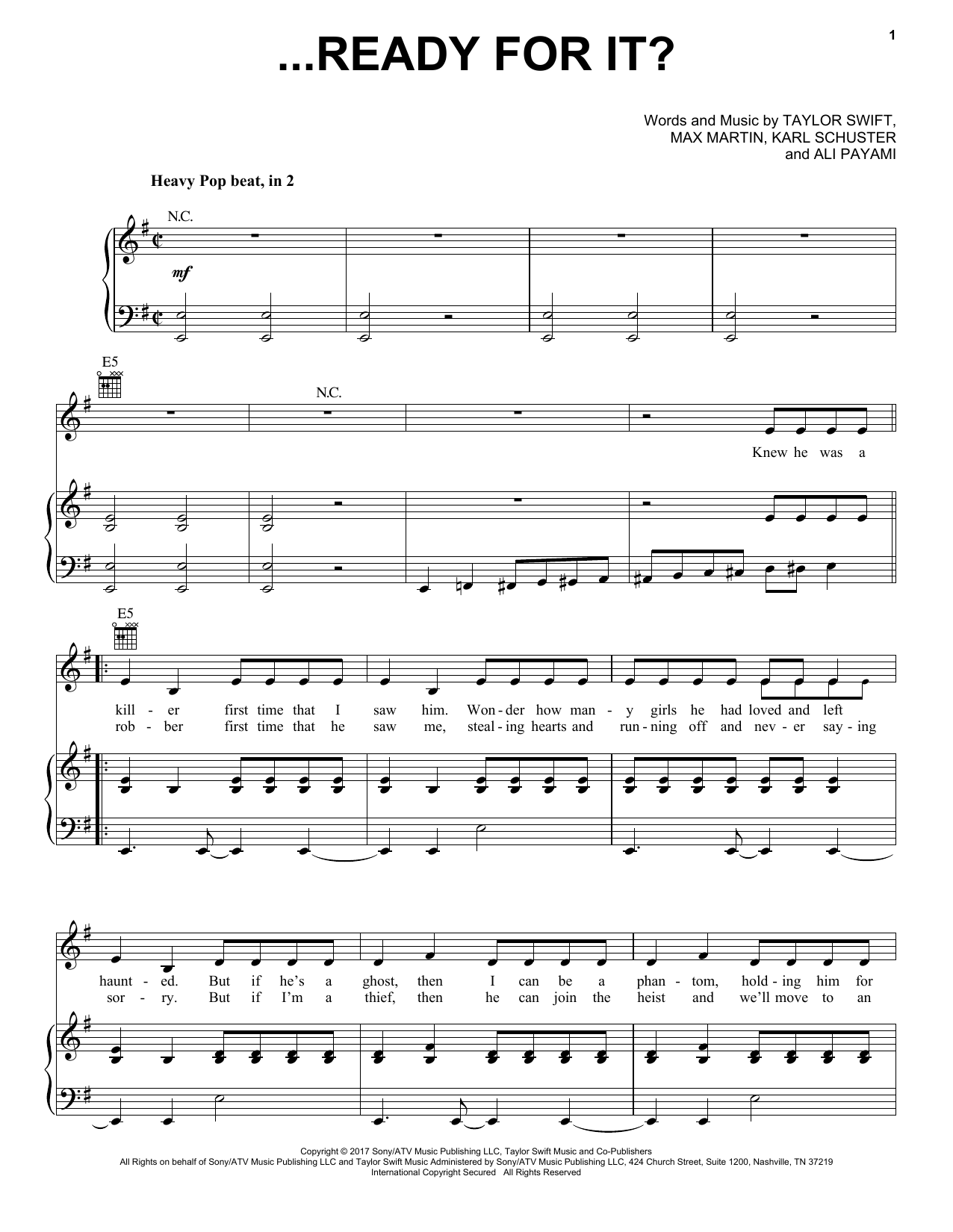Taylor Swift ...Ready For It? sheet music notes and chords. Download Printable PDF.