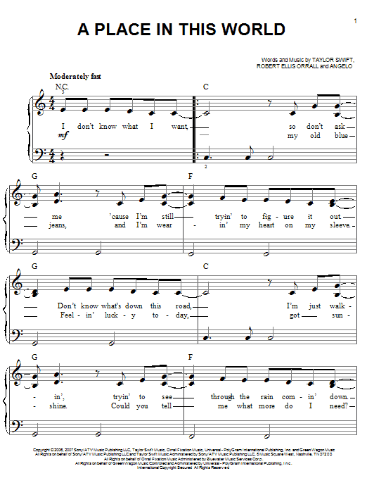 Taylor Swift A Place In This World sheet music notes and chords. Download Printable PDF.
