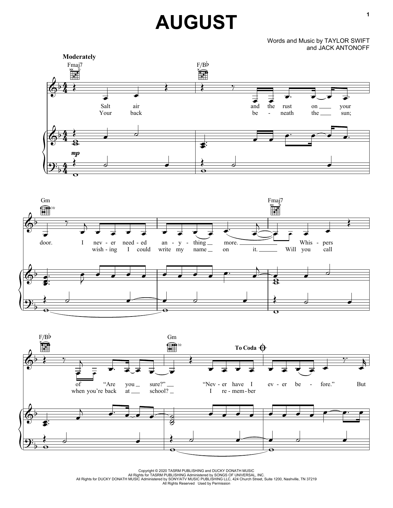 Taylor Swift august sheet music notes and chords. Download Printable PDF.