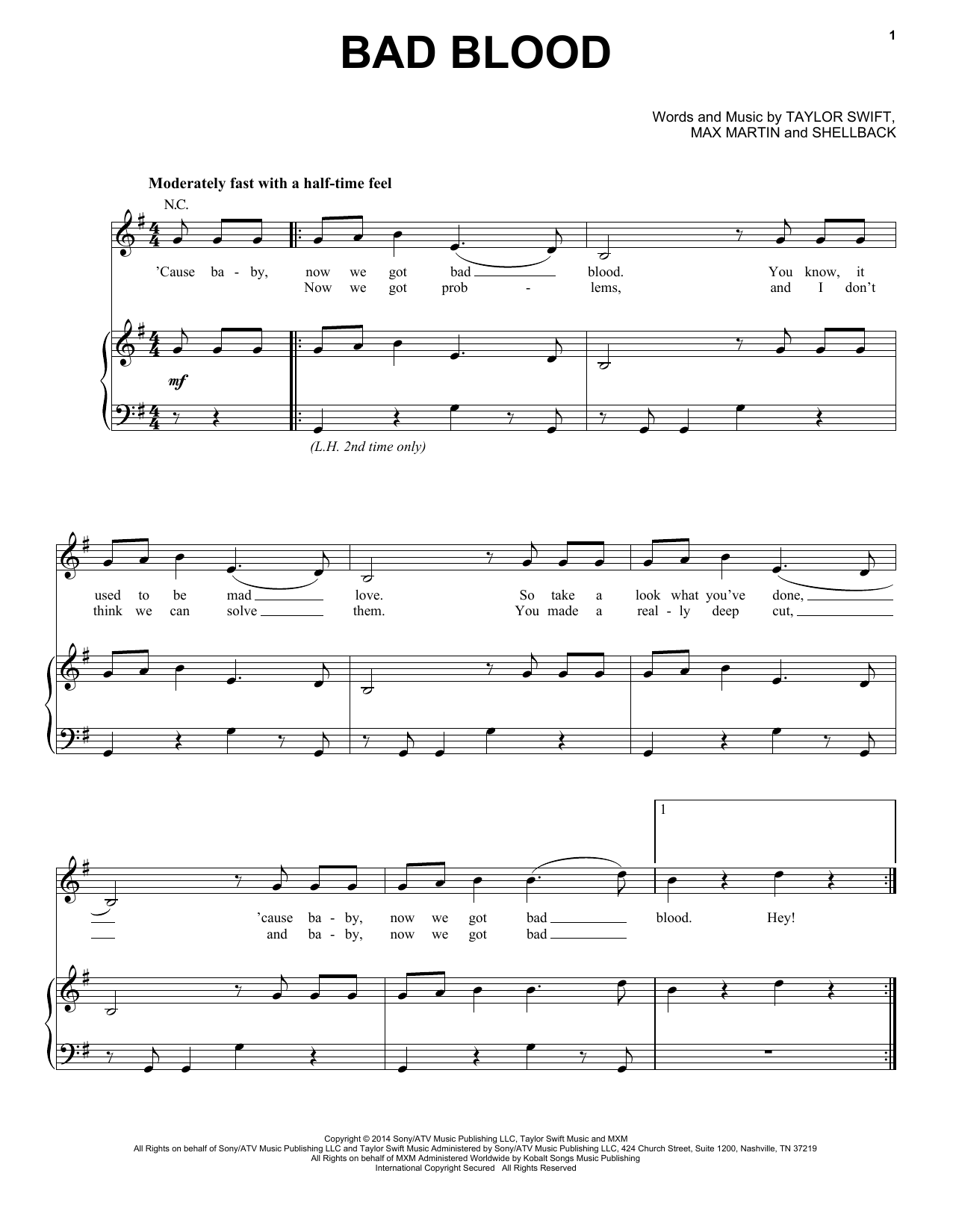 Taylor Swift Bad Blood sheet music notes and chords. Download Printable PDF.