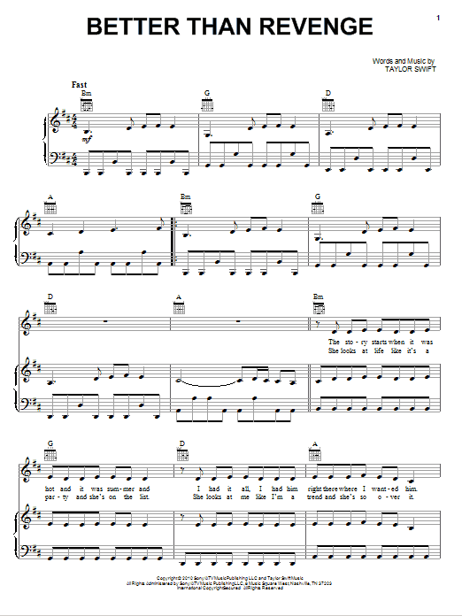 Taylor Swift Better Than Revenge sheet music notes and chords