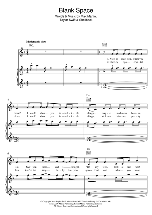 Taylor Swift Blank Space sheet music notes and chords