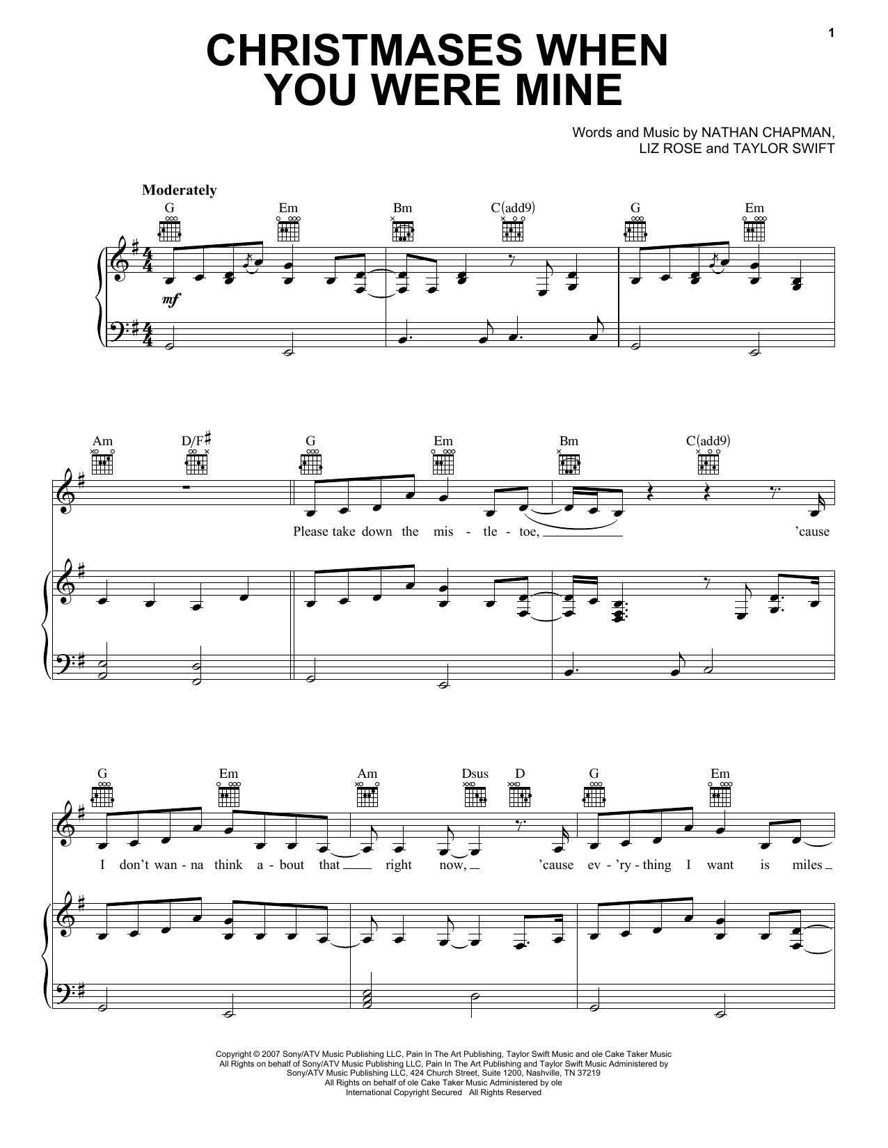 Taylor Swift Christmases When You Were Mine sheet music notes and chords. Download Printable PDF.