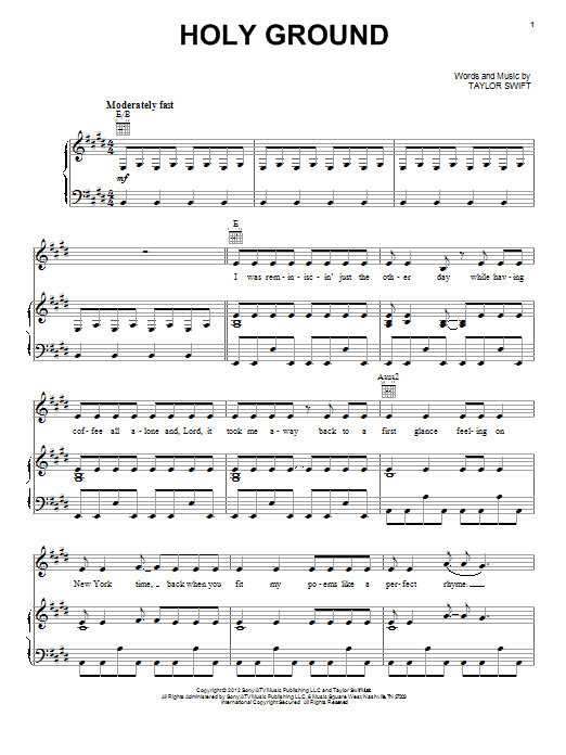 Taylor Swift Holy Ground Sheet Music Pdf Notes Chords Pop Score Easy Piano Download Printable Sku 93892
