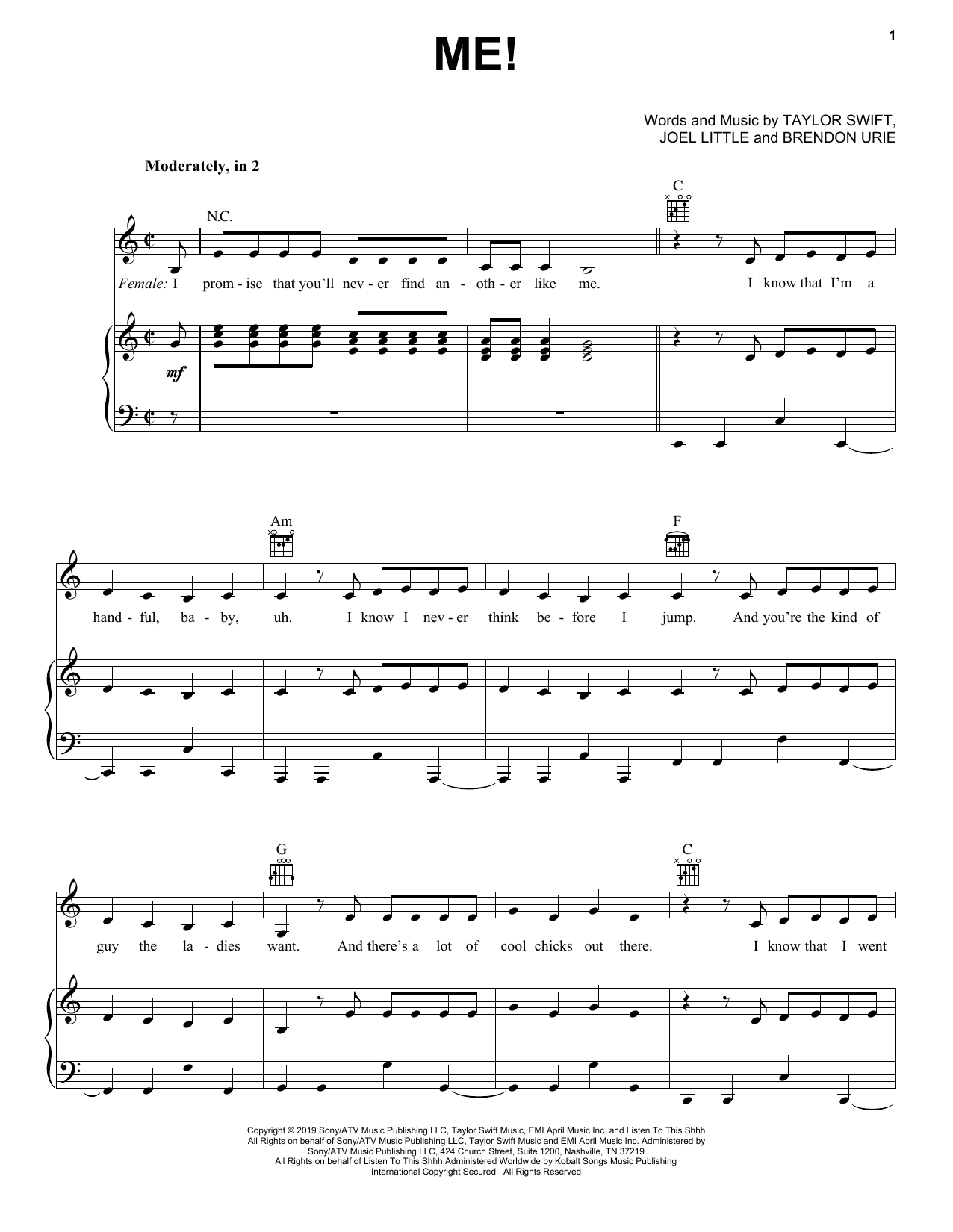 Taylor Swift ME! (feat. Brendon Urie of Panic! At The Disco) sheet music notes and chords. Download Printable PDF.
