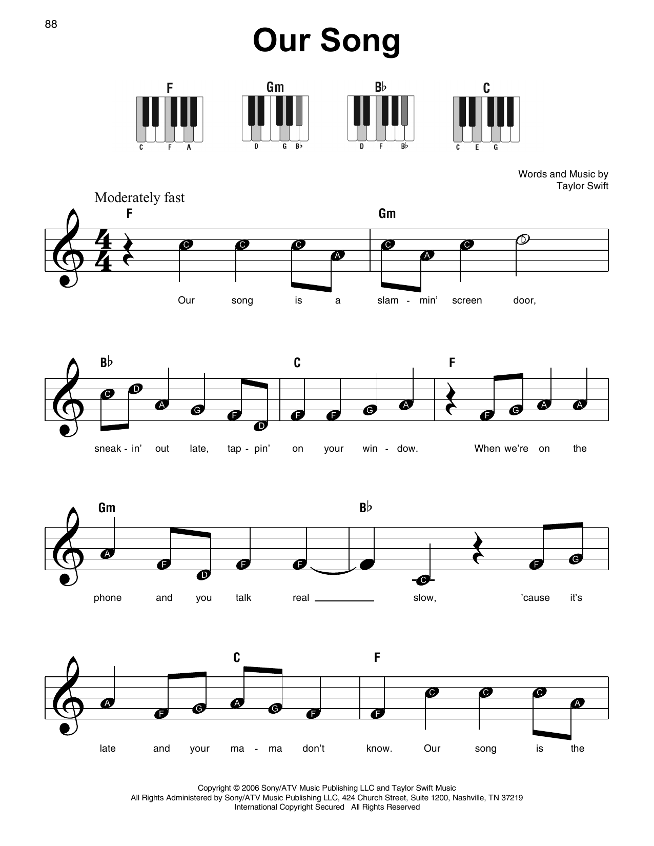 Taylor Swift Our Song sheet music notes and chords. Download Printable PDF.