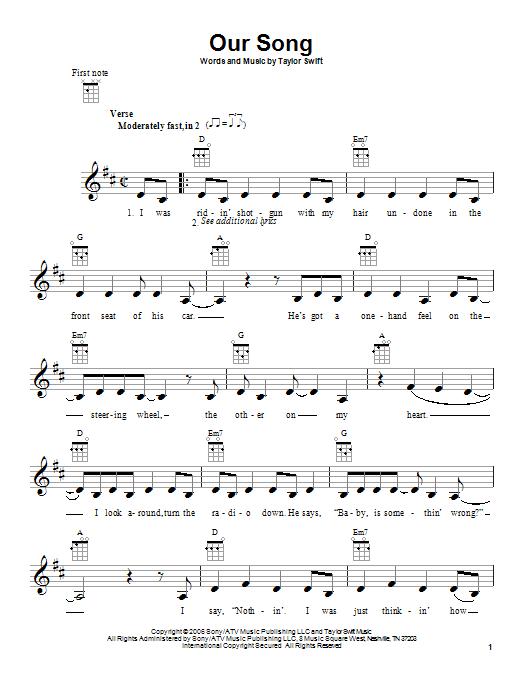 Taylor Swift 'Our Song' Sheet Music Notes, Chords | Download Printable  Ukulele - SKU: 87054