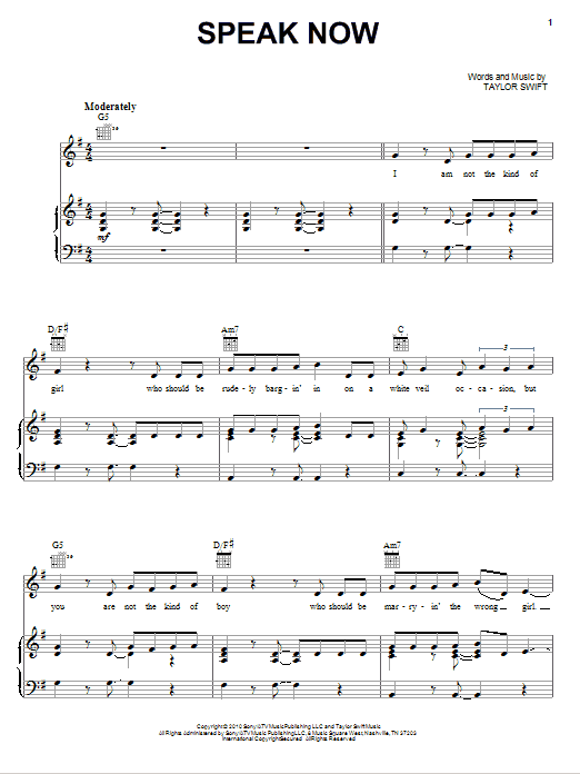 Taylor Swift Speak Now sheet music notes and chords. Download Printable PDF.