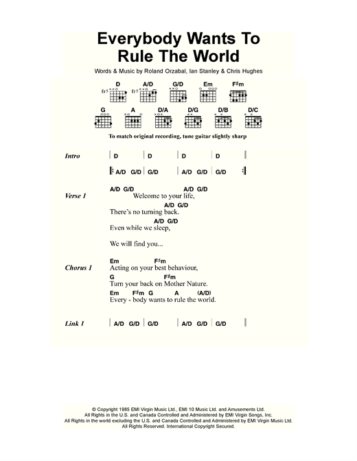 Tears for Fears Everybody Wants To Rule The World sheet music notes and chords. Download Printable PDF.