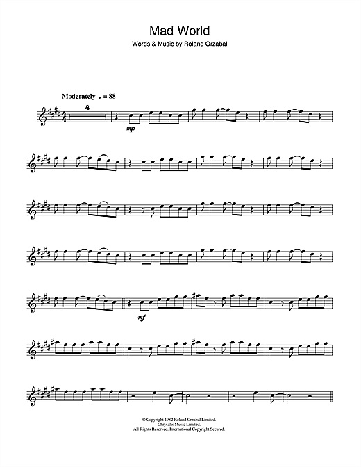 Tears For Fears Mad World sheet music notes and chords. Download Printable PDF.