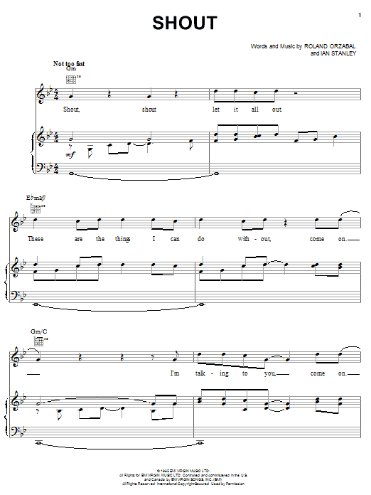 Tears For Fears Shout sheet music notes and chords