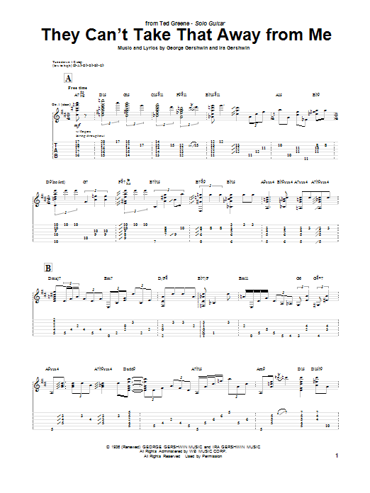 Ted Greene They Can't Take That Away From Me sheet music notes and chords. Download Printable PDF.
