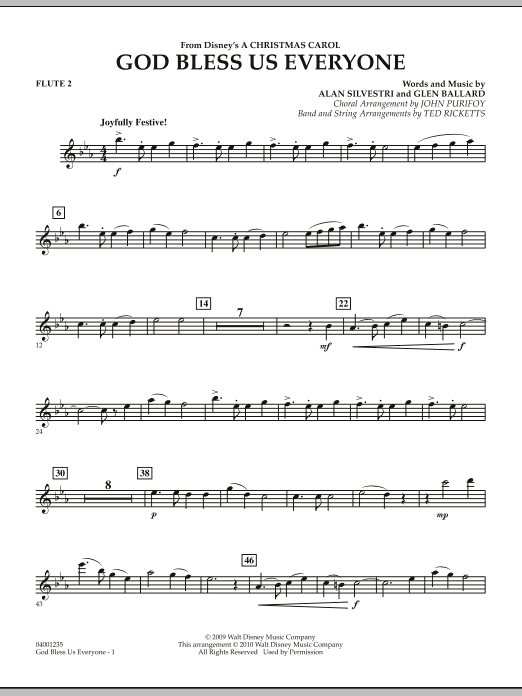 Ted Ricketts God Bless Us Everyone - Flute 2 sheet music notes and chords