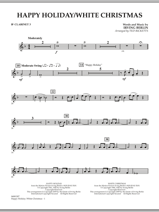 Ted Ricketts Happy Holiday/White Christmas - Bb Clarinet 3 sheet music notes and chords