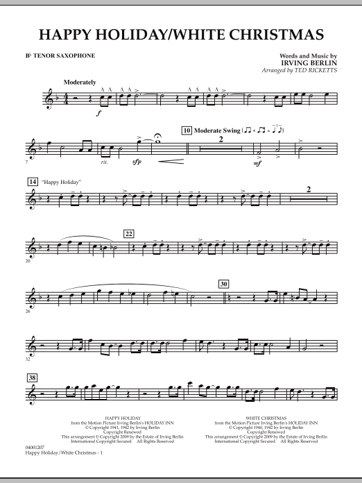 Ted Ricketts Happy Holiday/White Christmas - Bb Tenor Saxophone sheet music notes and chords