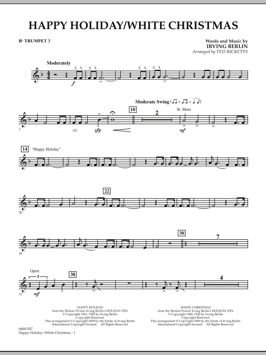 Ted Ricketts Happy Holiday/White Christmas - Bb Trumpet 3 sheet music notes and chords