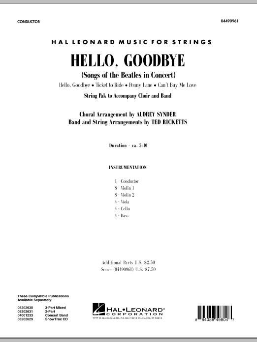 Ted Ricketts Hello, Goodbye (Songs Of The Beatles In Concert) - Conductor Score (Full Score) sheet music notes and chords. Download Printable PDF.