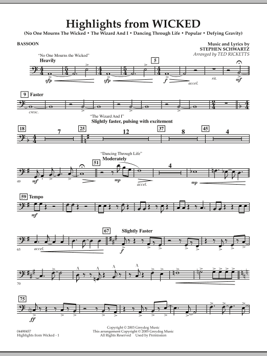 Ted Ricketts Highlights from Wicked - Bassoon sheet music notes and chords. Download Printable PDF.