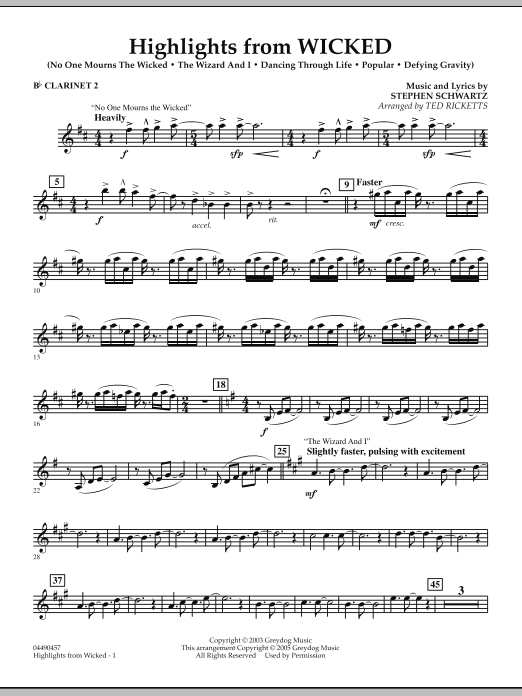 Ted Ricketts Highlights from Wicked - Bb Clarinet 2 sheet music notes and chords. Download Printable PDF.