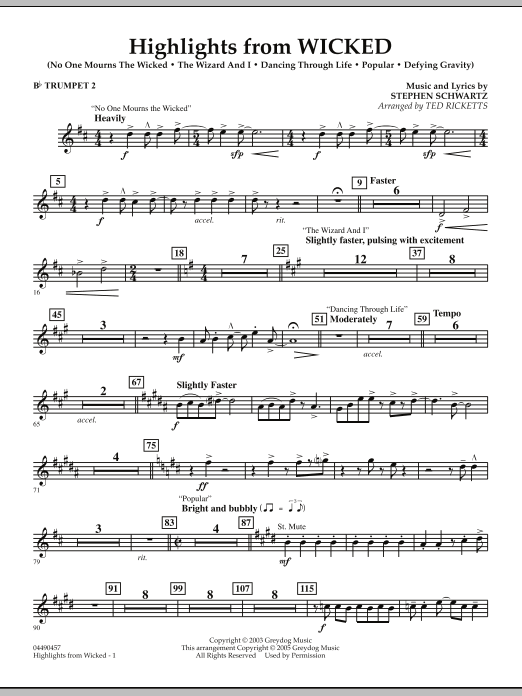 Ted Ricketts Highlights from Wicked - Bb Trumpet 2 sheet music notes and chords. Download Printable PDF.