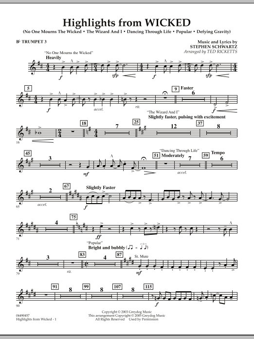 Ted Ricketts Highlights from Wicked - Bb Trumpet 3 sheet music notes and chords. Download Printable PDF.