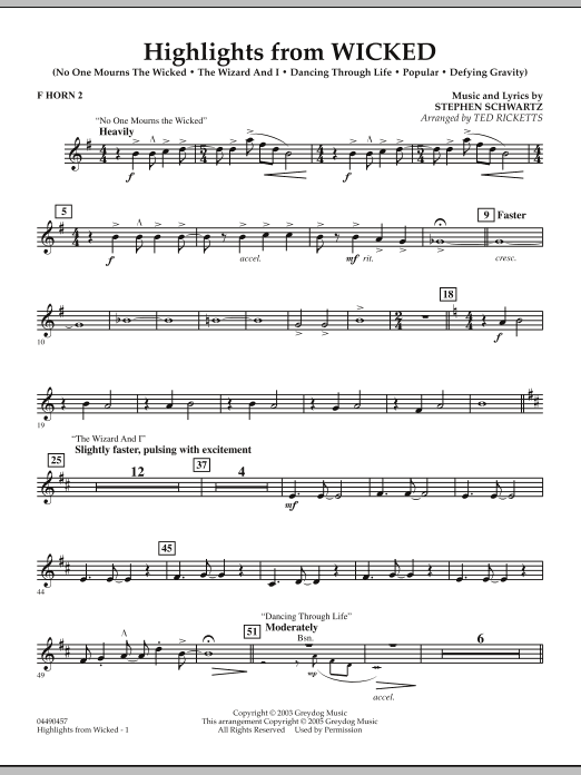 Ted Ricketts Highlights from Wicked - F Horn 2 sheet music notes and chords. Download Printable PDF.