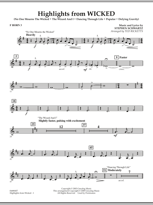 Ted Ricketts Highlights from Wicked - F Horn 3 sheet music notes and chords. Download Printable PDF.