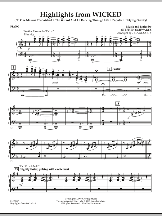Ted Ricketts Highlights from Wicked - Piano sheet music notes and chords. Download Printable PDF.