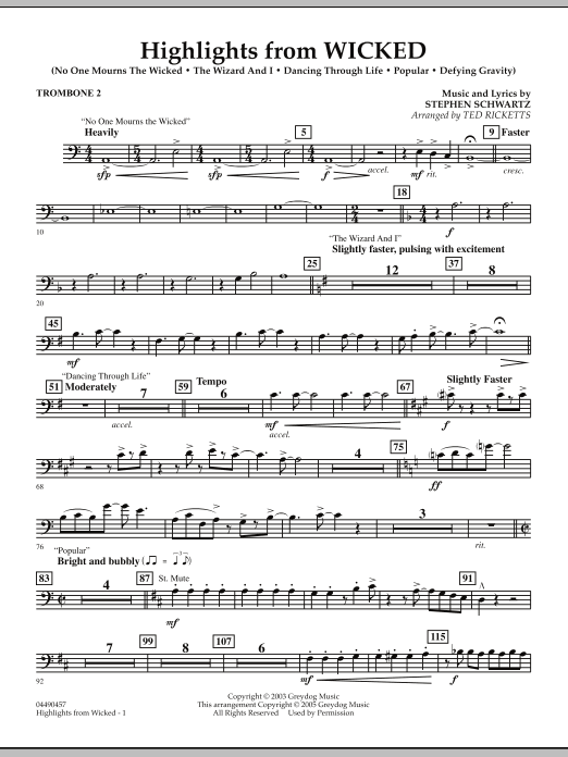 Ted Ricketts Highlights from Wicked - Trombone 2 sheet music notes and chords. Download Printable PDF.