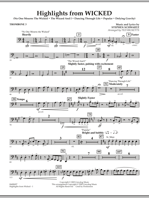 Ted Ricketts Highlights from Wicked - Trombone 3 sheet music notes and chords. Download Printable PDF.