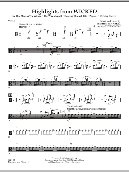 Ted Ricketts Highlights from Wicked - Viola sheet music notes and chords. Download Printable PDF.