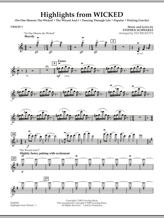 Ted Ricketts Highlights from Wicked - Violin 1 sheet music notes and chords. Download Printable PDF.