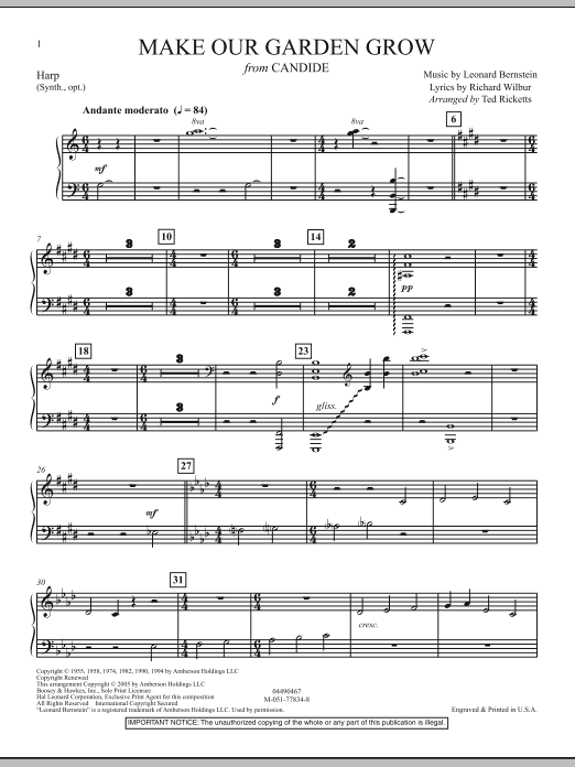 Ted Ricketts Make Our Garden Grow (from Candide) - Harp sheet music notes and chords. Download Printable PDF.