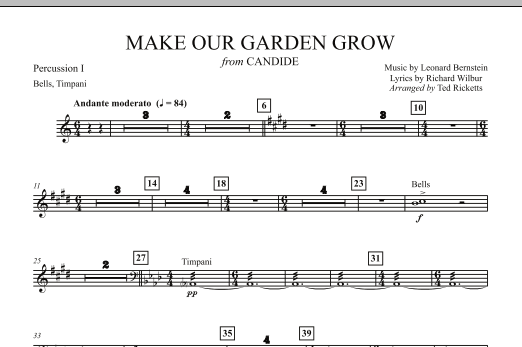 Ted Ricketts Make Our Garden Grow (from Candide) - Percussion 1 sheet music notes and chords. Download Printable PDF.